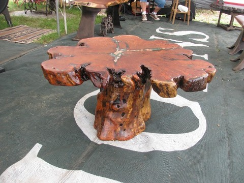... Slab Of Mesquite Inlayed With Copper Splash And Malakite Stone Placed  On A Very Natural Live Edge Mesquite Stump. Itu0027s A Coffer Or End Table.